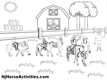 Coloring Page - Pony Rides on The Farm