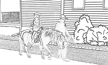 Coloring Page - Pony Ride with Dad